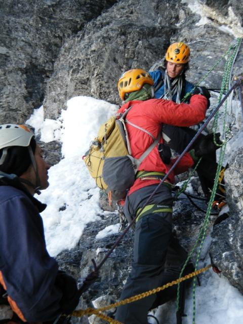Jakob Karner, Colin Haley und sein norwegischer Seilpartner in der Eigernordwand