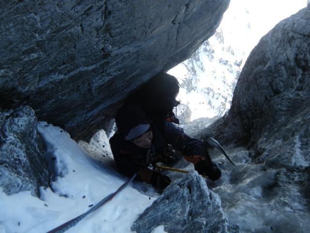 ein bewährtes System - Jakob mit Leash in der Eiger Nordwand